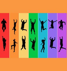 silhouettes people jumping on rainbow vector image