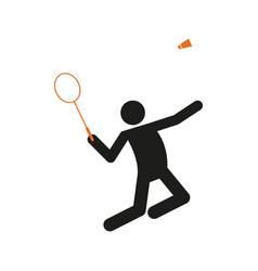 Simple badminton sport figure symbol graphic vector