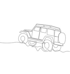 Single line drawing of tough 4x4 speed jeep vector
