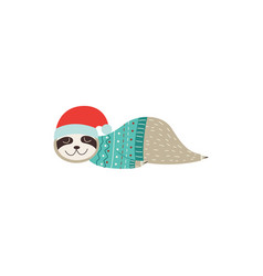 Sleeping christmas sloth in santa hat vector