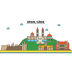 spain cadiz city skyline architecture buildings vector image
