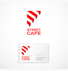 Street cafe logo restaurant emblem awning vector