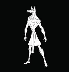 Stylized god anubis on a black background vector