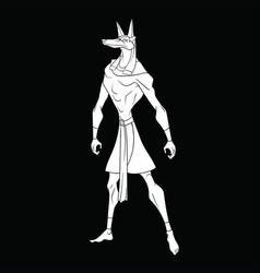 stylized god anubis on a black background vector image