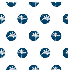 Stylized palm trees blue circled style seamless vector