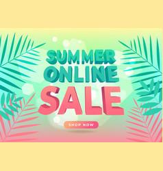 Summer online sale promotion banner vector