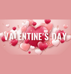 valentines day background with red and pink hearts vector image