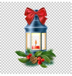 vintage old lantern lamp with candle vector image