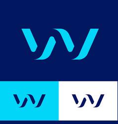 w logo blue volume monogram bent web wave vector image