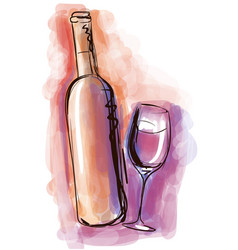 Watercolor wine bottle and glass vector