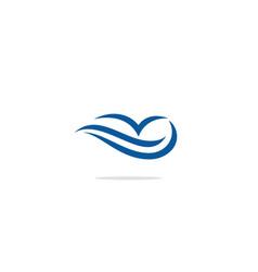wave abstract ocean bird logo vector image