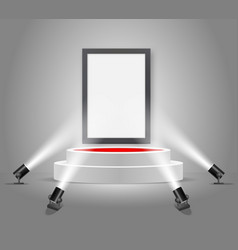 white round podium with empty picture frame vector image