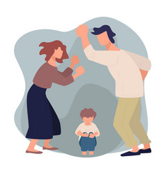 wife and husband quarreling before scared kid vector image