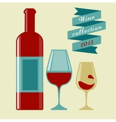 Wine collection 2015 glasses and bottle vector