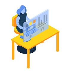 Woman desktop futuristic graph icon isometric vector