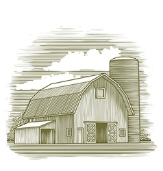 Woodcut Old Barn vector