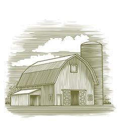 Woodcut Old Barn vector image