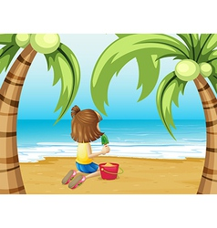 A beach with a young girl playing vector image vector image