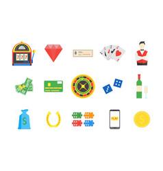 casino set symbol gambling game vector image