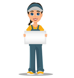 courier woman holding blank placard professional vector image vector image