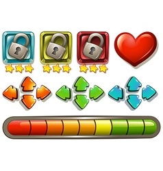 Game elements with locks and arrows vector image vector image
