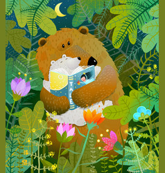 mother bear reading book to cub baby in forest vector image