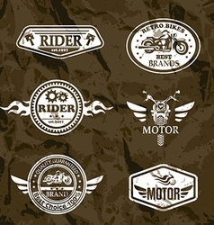 motorcycle vintage labels set of emblems vector image vector image