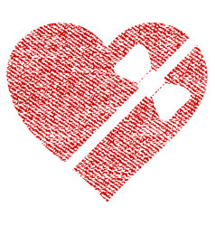 Tied love heart fabric textured icon vector