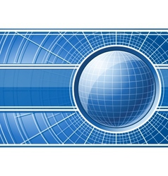 Blue background with globe vector image vector image
