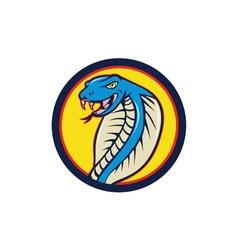 Cobra viper snake head attacking circle cartoon vector