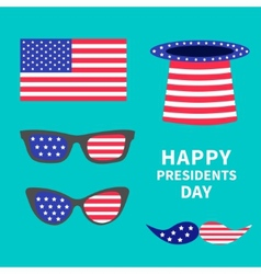 Glasses mustaches hat flag set Presidents Day vector image