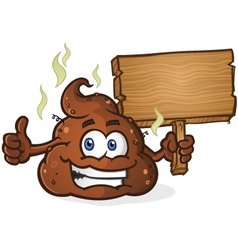 Poop Cartoon Character Holding a Sign vector image