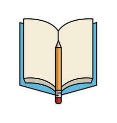 textbook with pencil isolated icon vector image vector image