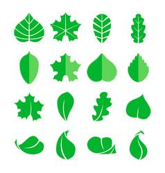 Different leaf set icons design eco vector