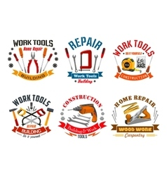 Repair work tools icons set vector image vector image