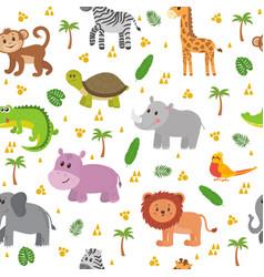 African animals seamless pattern cute cartoon vector