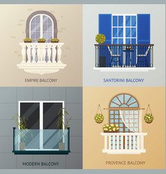balcony design compositions set vector image vector image