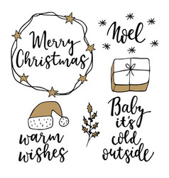 christmas and new year lettering set hand vector image vector image