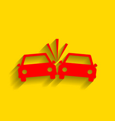 crashed cars sign red icon with soft vector image