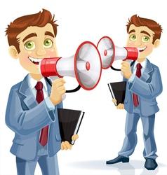 Cute businessman speaks in megaphone vector image vector image