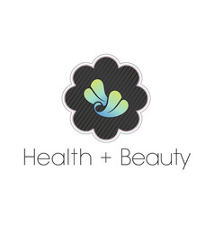 leaf health and beauty spa logo in flower frame vector image