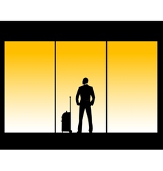 man in airport lounge vector image