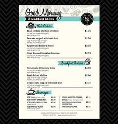 Restaurant Breakfast menu design Template layout vector image vector image