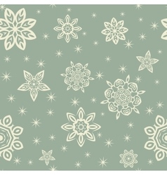 Retro Christmas pattern with white snowflakes on vector image vector image