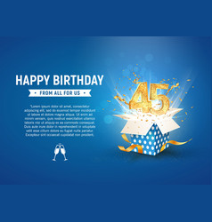 45 th years anniversary banner with open burst vector