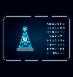 5g cell tower neon light icon antenna signal fast vector