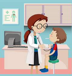 A boy checkup at hospital vector