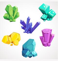 a cartoon set of natural crystals vector image