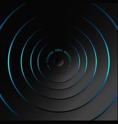 Abstract blue neon glowing circles on black vector