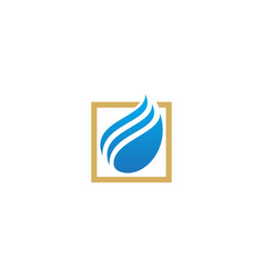 abstract wave water square logo vector image
